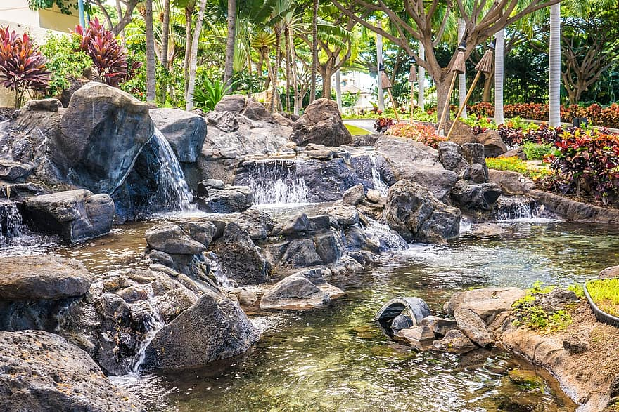 waterfall garden rocks nature pond green landscape stone park