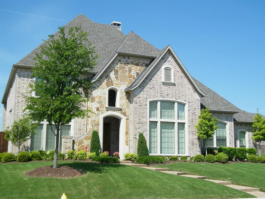 landscaping front yard brick house yard porch architecture building city architecture design structure home