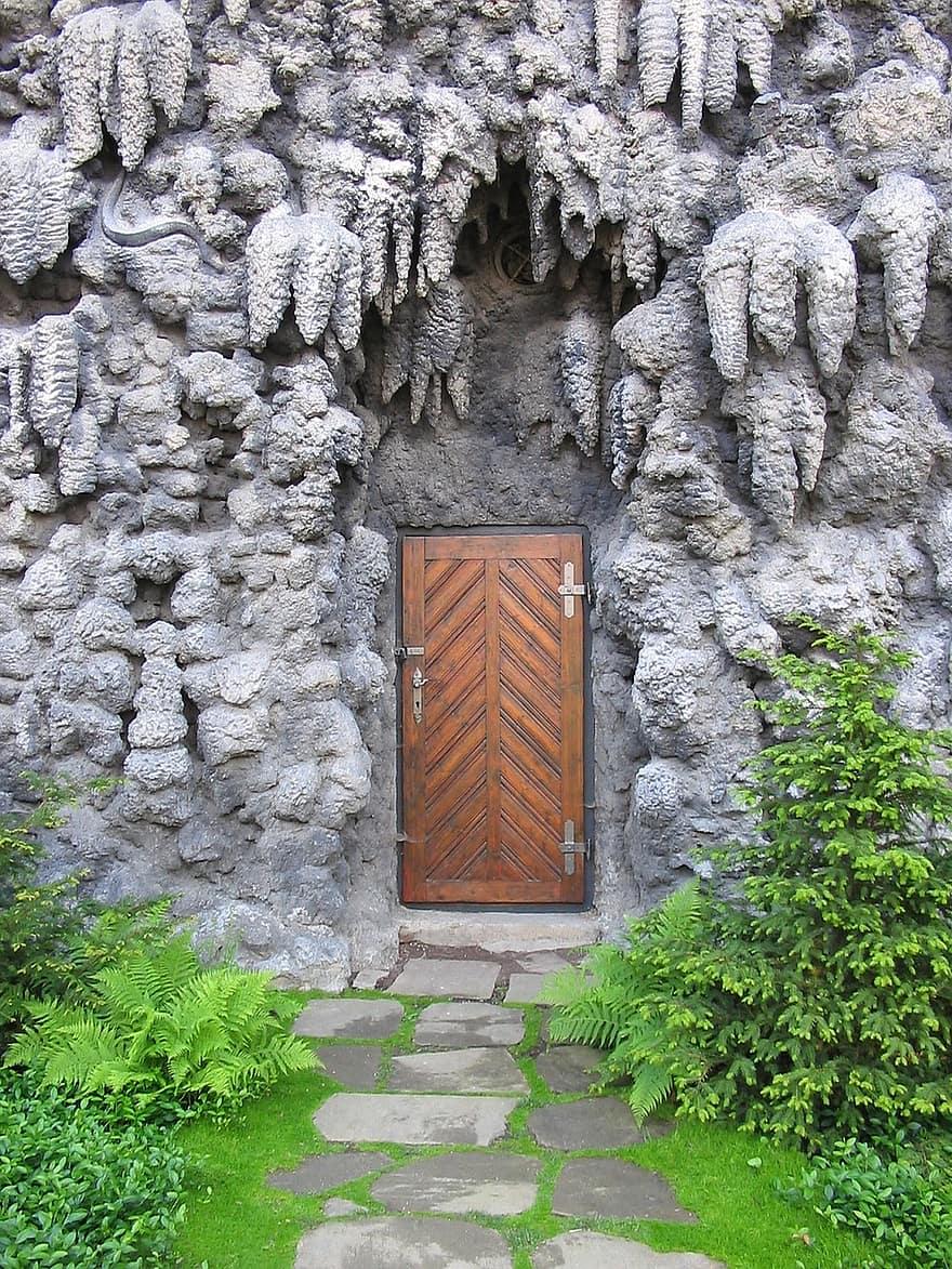 door artificial fake stone rock garden