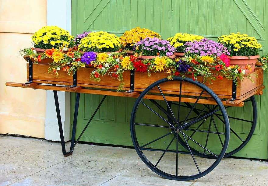 flower cart wagon mums chrysanthemums floral gardening country pot rustic