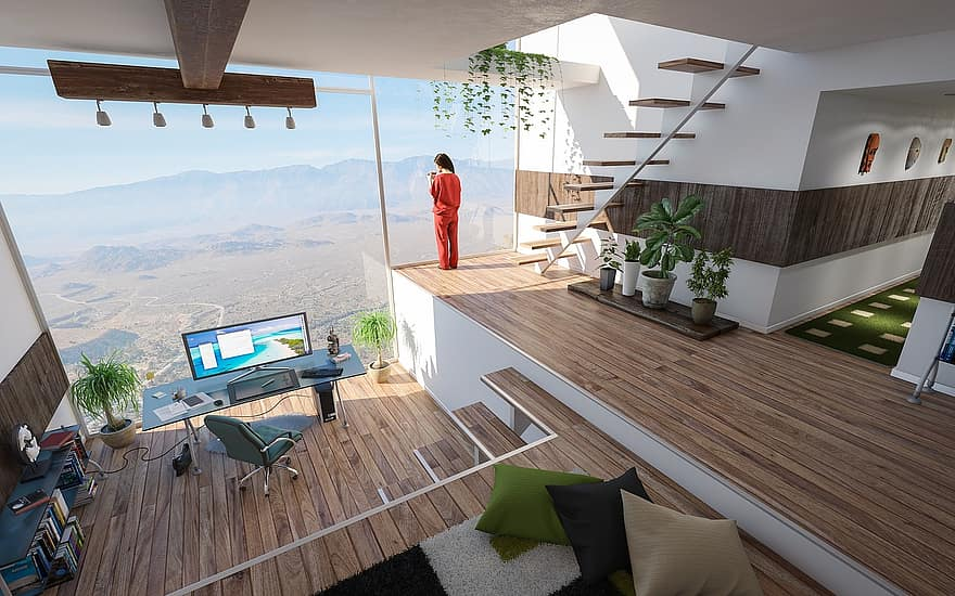 interior design room office home real estate background residential contemporary