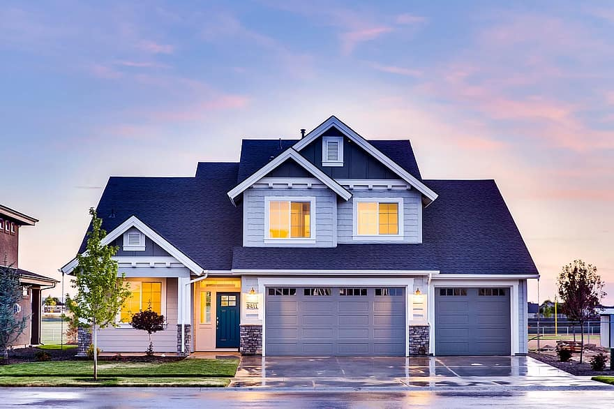 architecture family house front yard garage home house lights real estate windows