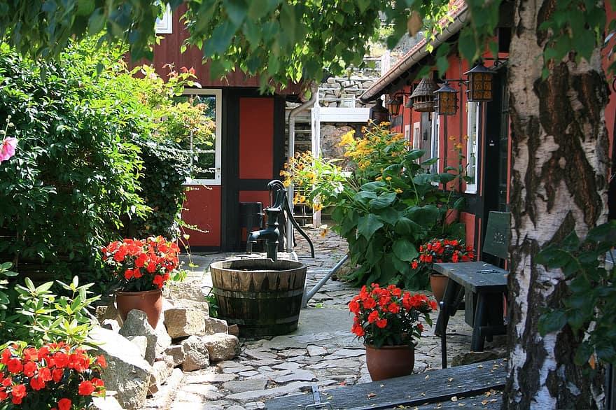 bornholm denmark backyard garden fountain 1