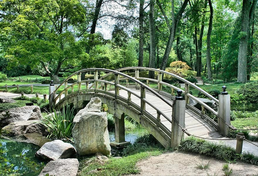 bridge japanese garden arch park gardening green peaceful tranquil path