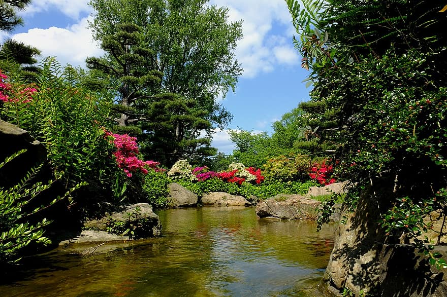 dusseldorf japanese garden ornamental garden park landscape spring bach watercourse germany