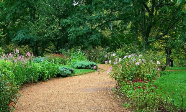 garden path pea gravel sand lawn flowers horticulture