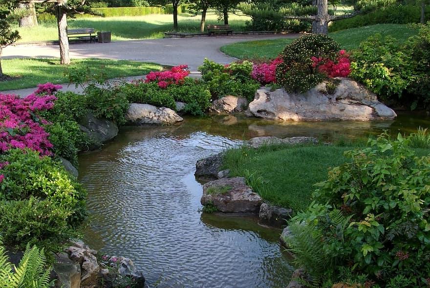 landscape japanese garden dusseldorf north park park flowers spring bach water