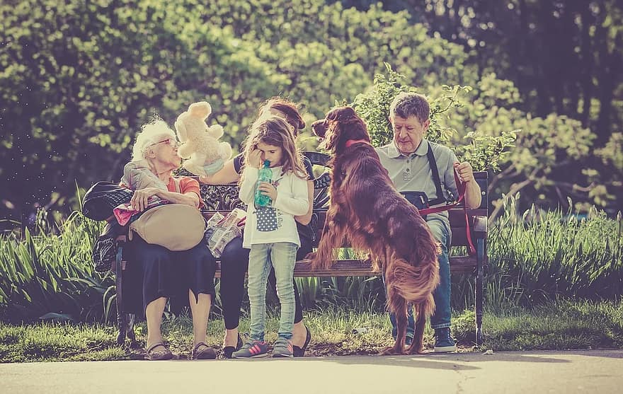 people family man old woman kid girl child dog