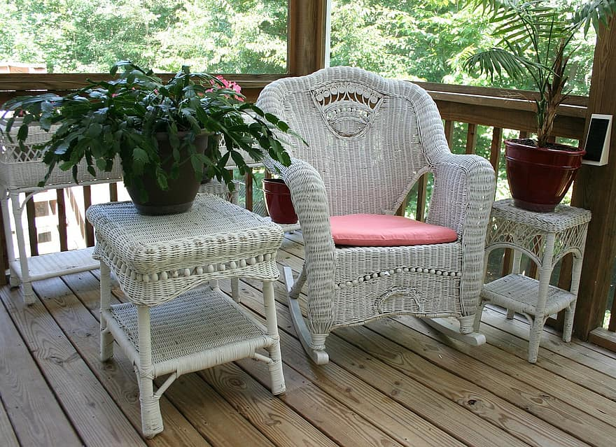 wicker rocking chair porch white table wicker home wood furniture seat relax 1