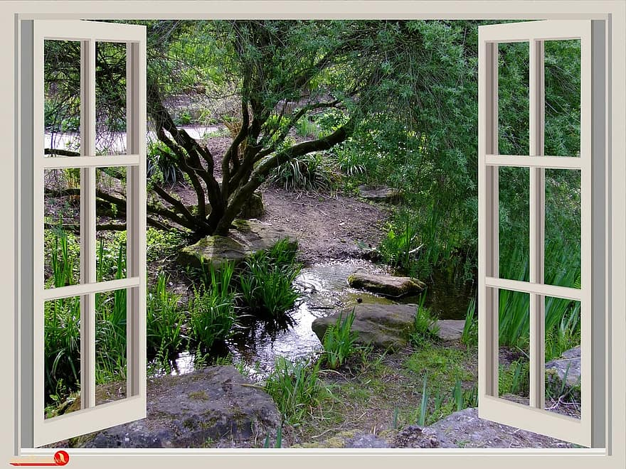 window garden window frames outlook bach small stream park south park dusseldorf