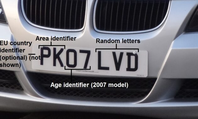 Front British number plate labelled
