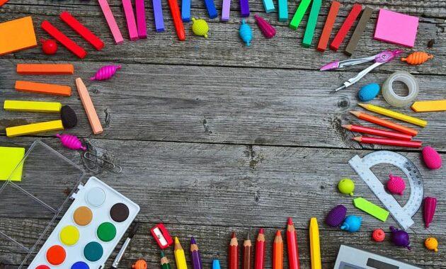school tools color crayon paint brush tool education design creative
