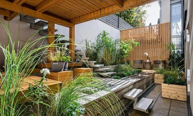 house patio luxury wood seat outdoors backyard contemporary garden