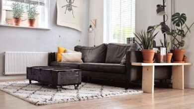 Black and White carpet ideas for minimalist living room