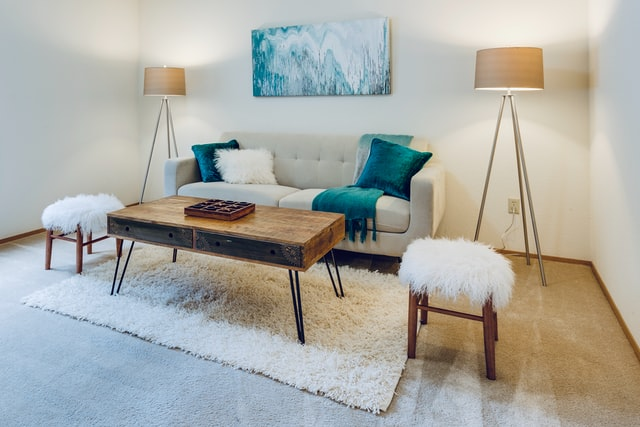 Living room with 2 standing lamp ideas