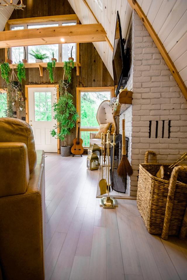 brick and wood wall decor rustic design