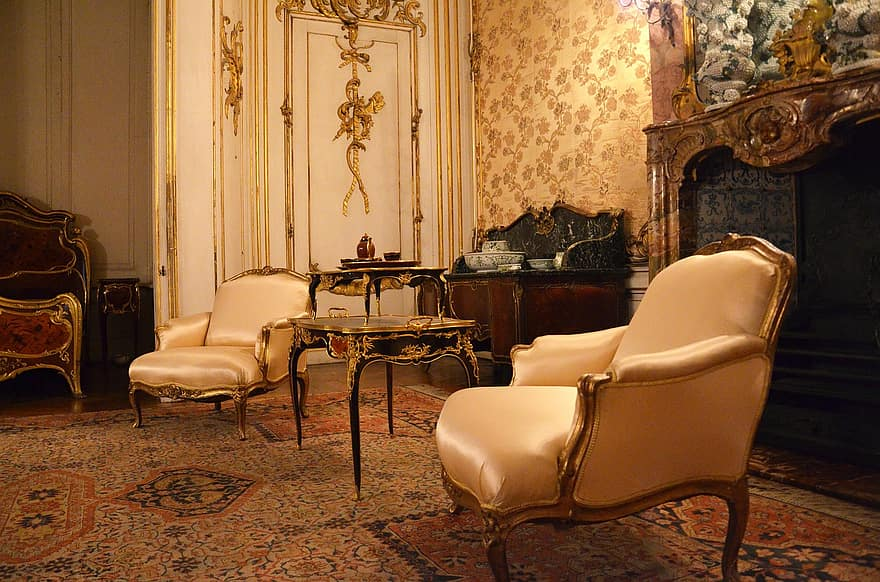 castle sanssouci baroque chair living room furniture rococo old furniture decor