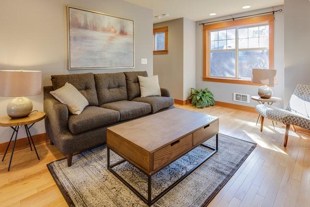 gold wall frame living room design