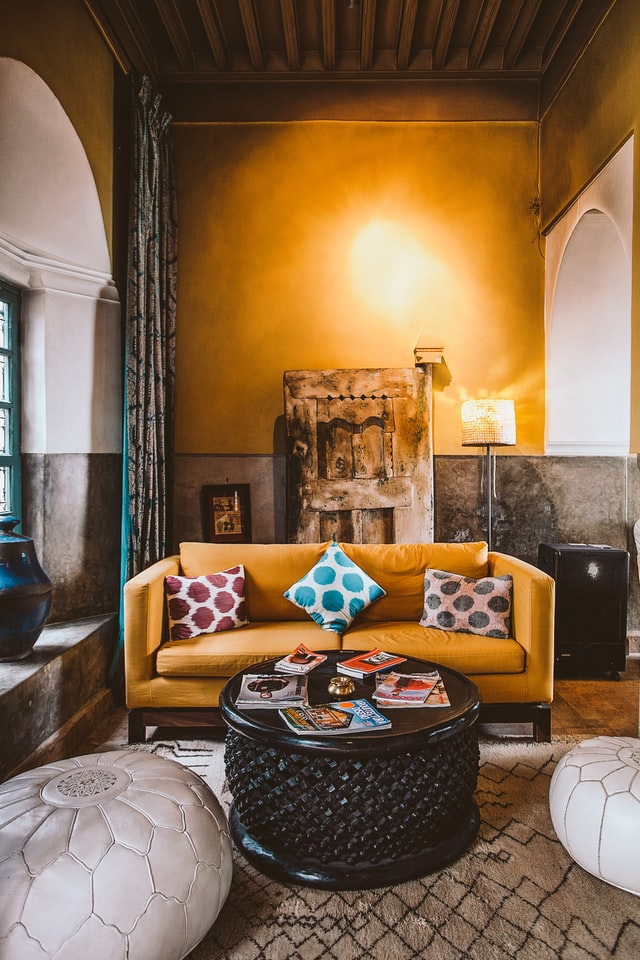 gothic living room with gold sofa design vintage