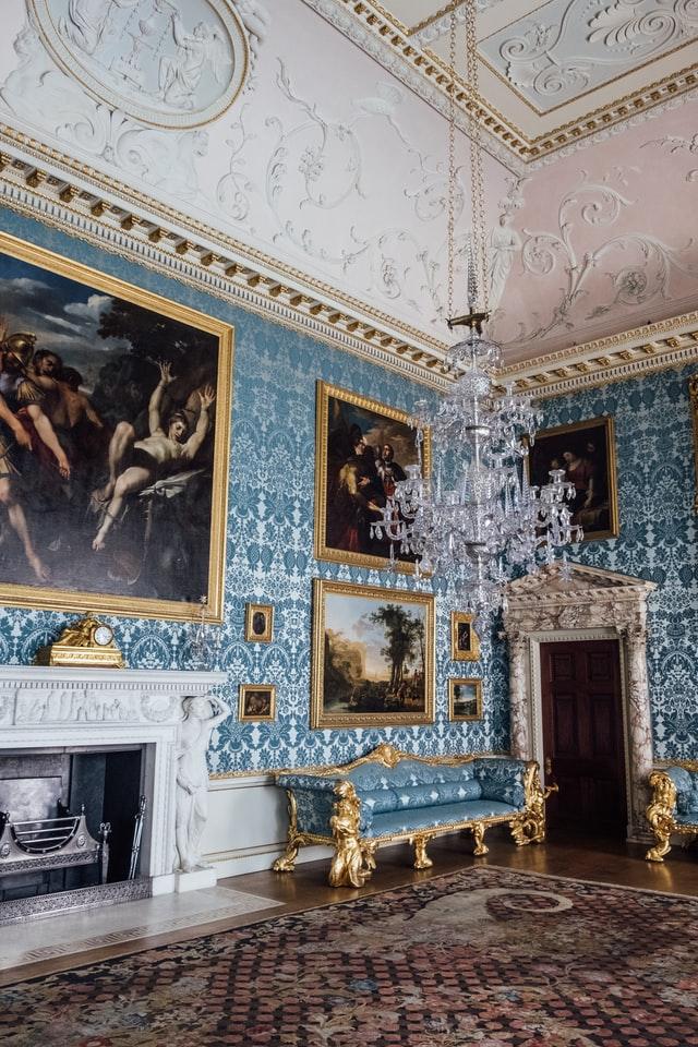 home furniture vintage gold design with blue