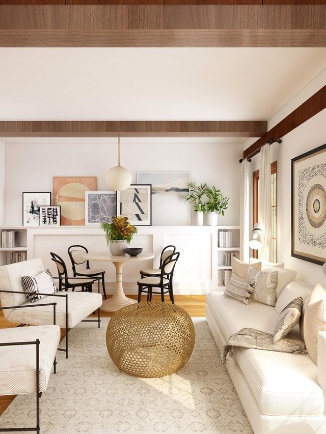 minimalist living room design with round hanging lamp