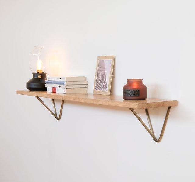 minimalist wooden floating shelf
