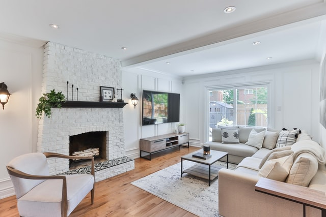 modern living room with artistic wall sconces