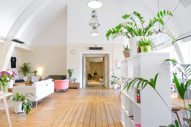 modern wooden floor living room design