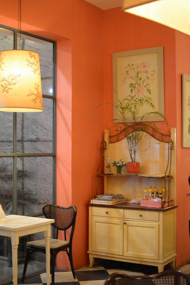 soft orange rustic wall decor ideas