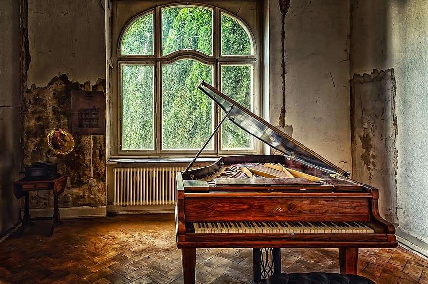 villa space room architecture house old interior piano wing