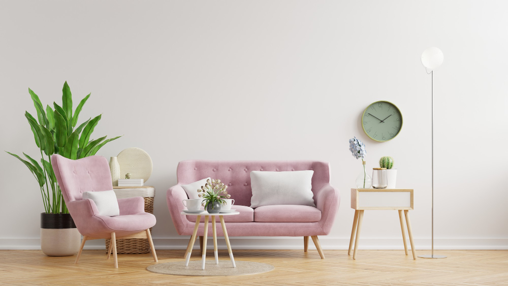 Beautiful Pink Sofa White Wall Color