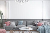 Beautiful pink accent living room with wood material touch