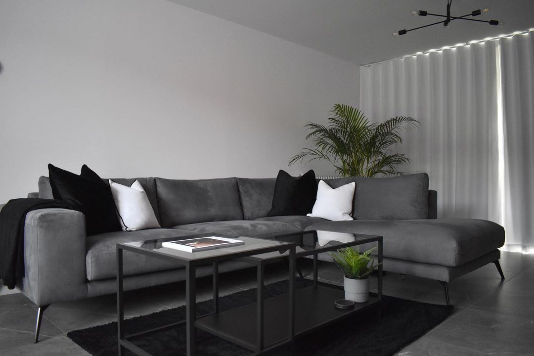 Black carpet with gray accent and furniture ideas for living room