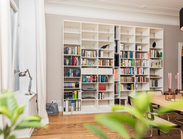 Bookcase inspiration white color wood materials
