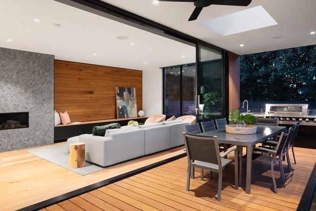 Brown wooden Floor Ideas for elegant living room design