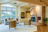 Design of Living room brick fireplace