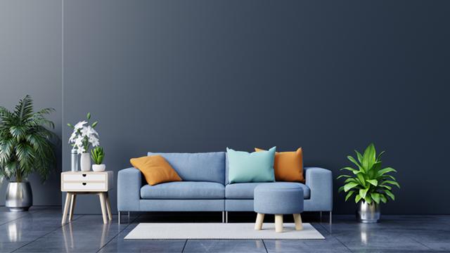 Japanese Dark Living Room Blue sofa with Minimalist Design