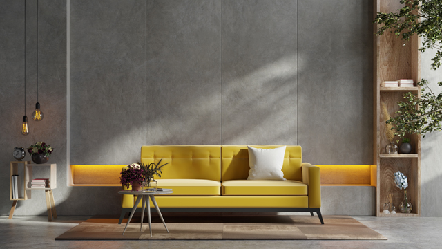 Japanese Yellow sofa with simple ornament living room area