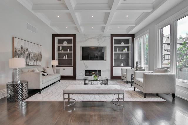 Minimalist style gray color for elegant living room ideas