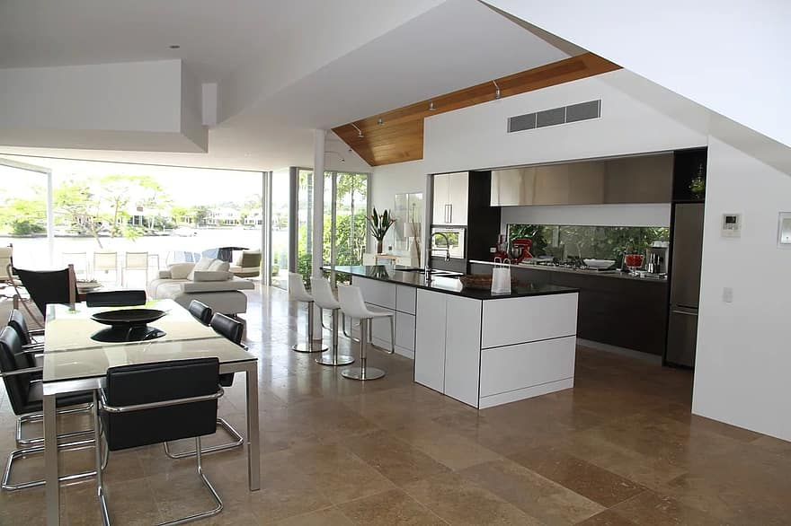 apartment window glass wall floor house architecture way of life living room kitchen