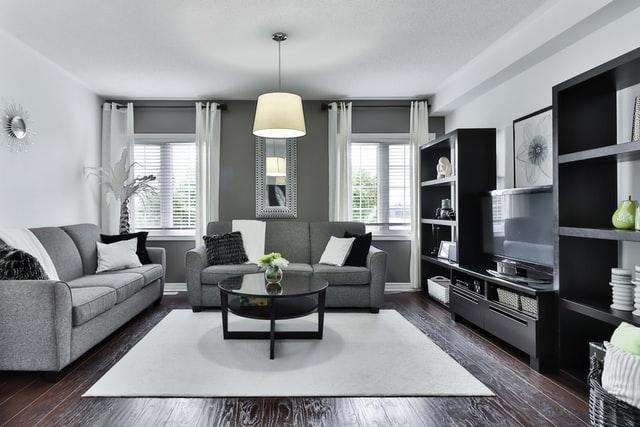 dark grey minimalist modern living room design
