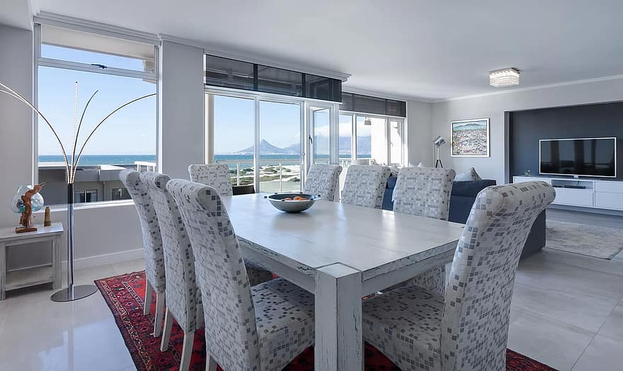 dining room living room modern white bright windows interior design window apartment