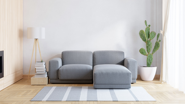 gray sofa white living room with white curtain japanese style minimalism ideas