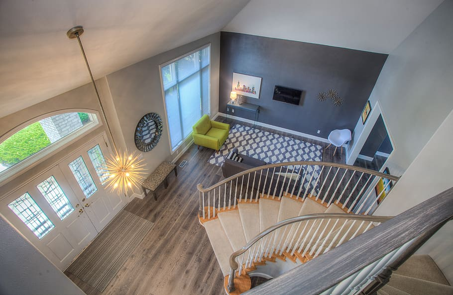 home interior design stairs ciling light