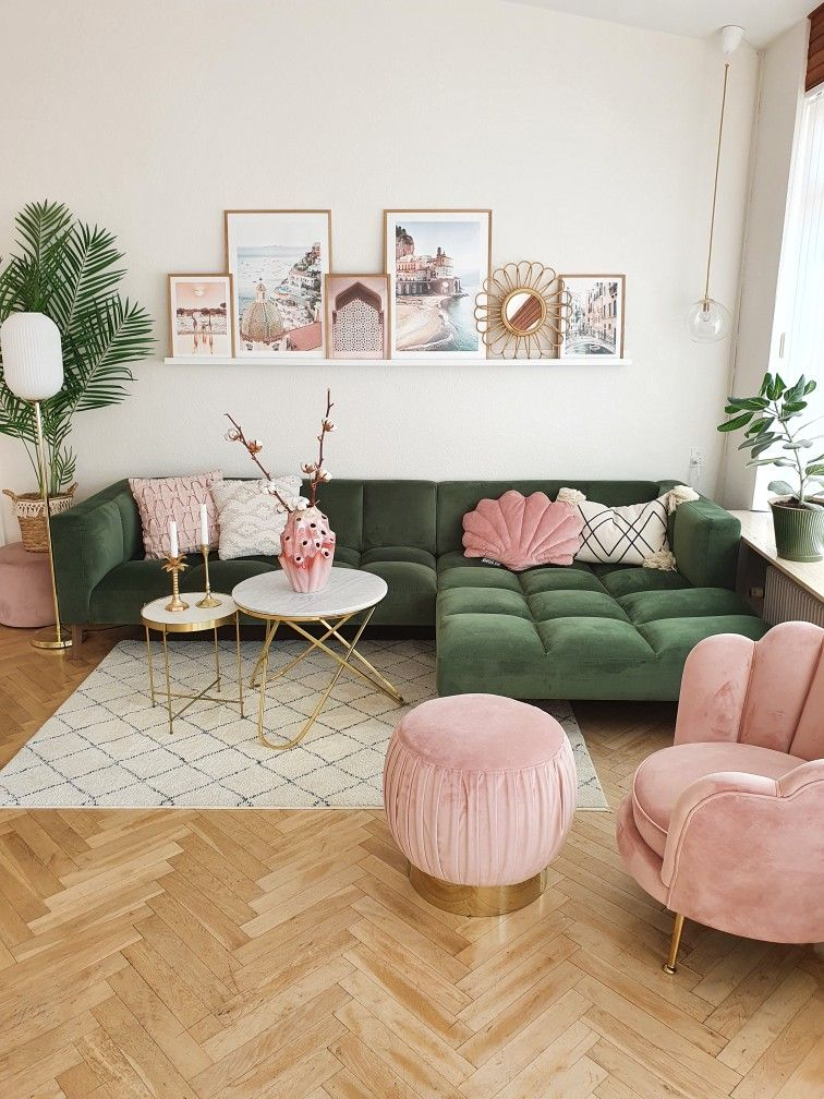 living room ideas white wall with pink sofa ideas