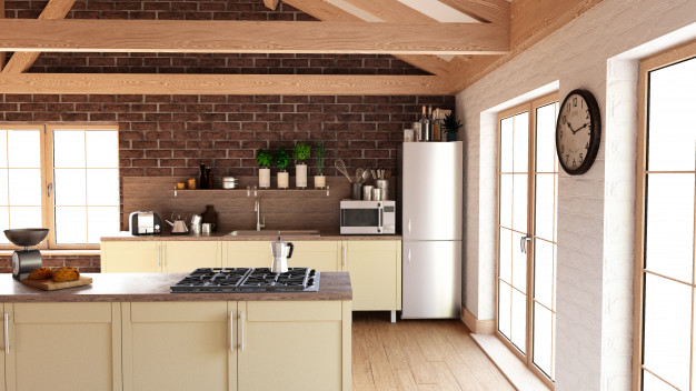 modern iron and wood wall decor combination for kitchen room