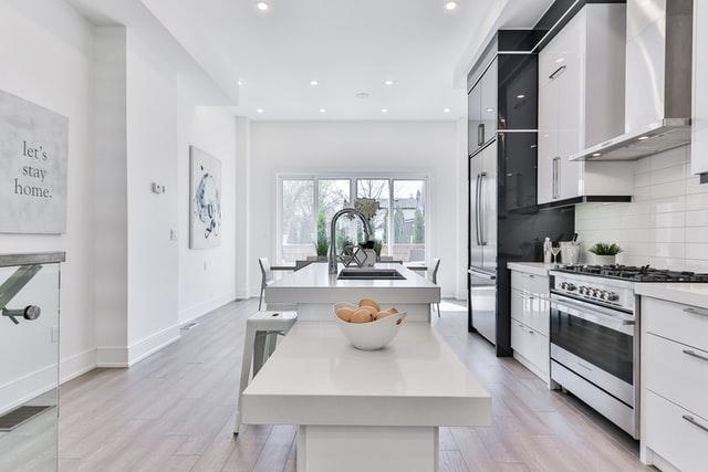 modern minimalist kicthen room with painting decoration