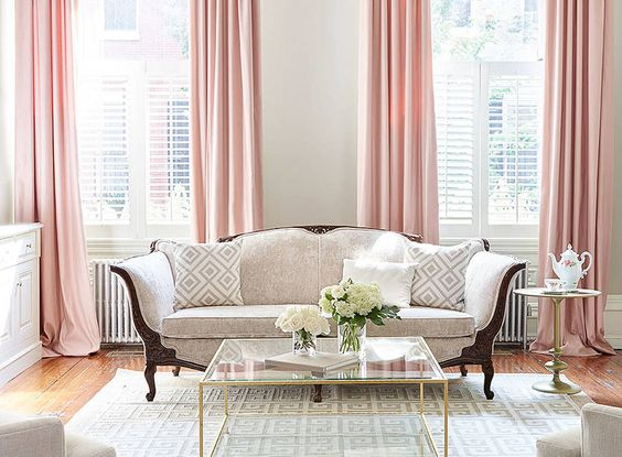 pink curtain living room ideas