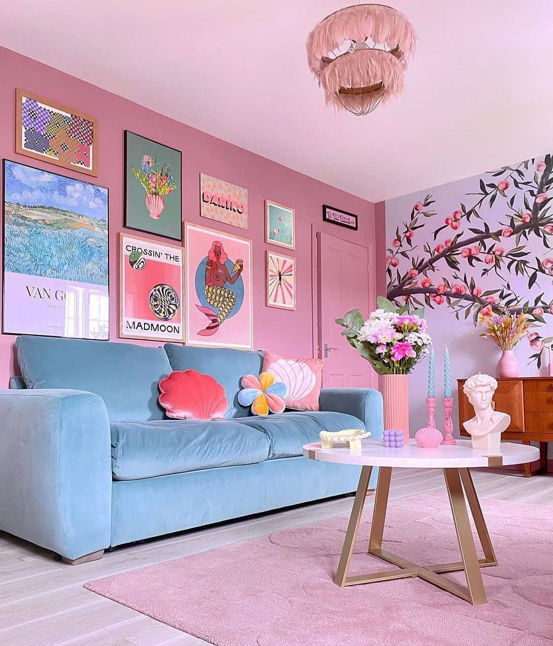 pink rugs for living room ideas