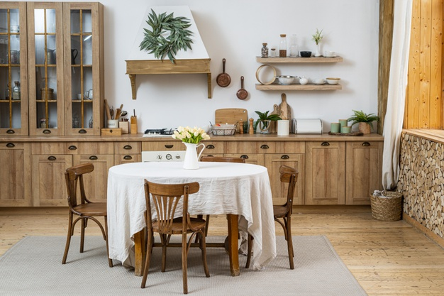 vintage traditional kitchen room with wooden materials plans minimalist wooden shelves